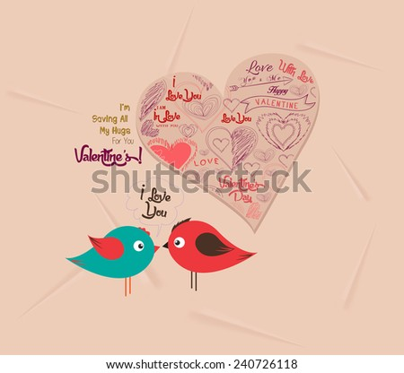 valentine day with heart and couple bird - stock vector