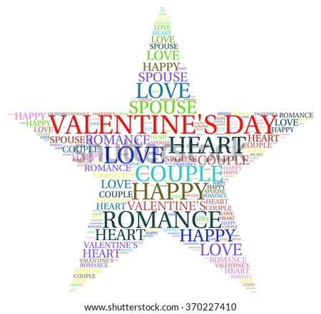 VALENTINE DAY. Word collage on white background. Illustration with different association terms.