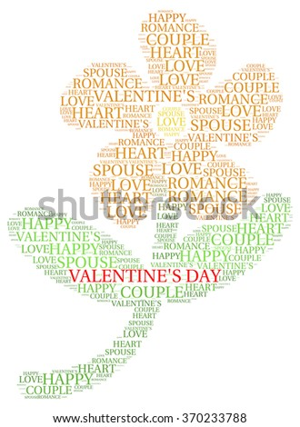 VALENTINE DAY. Word collage on white background. Illustration with different association terms.  - stock vector