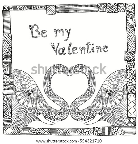 Valentine doodle background card with elephant pair and typography