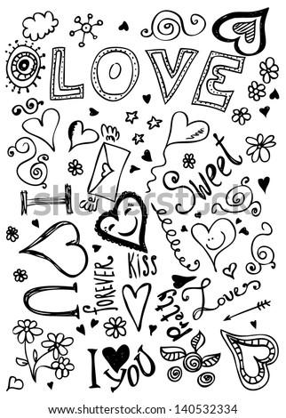 Valentine doodles - stock vector