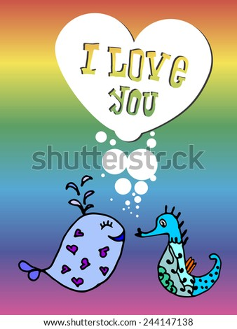 Valentine for gays, the heart of bubbles, cartoon fish in the sea, I love you, postcard for 14 February, Rainbow background, lgbt - stock vector