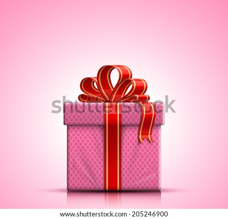 Valentine gift box with red ribbon and bow on pink background. Vector illustration - stock vector