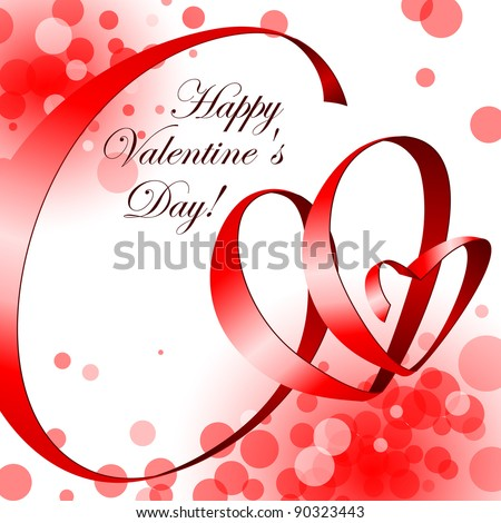 Valentine greeting card - happy valentine day. Red ribbon in shape hearts on a white background.  Vector Background.