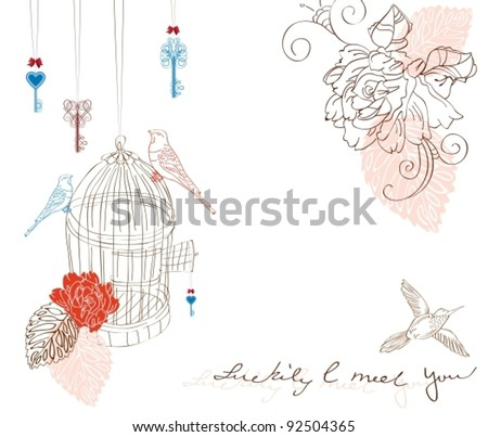 Valentine hand drawing background with birds and flowers, vector