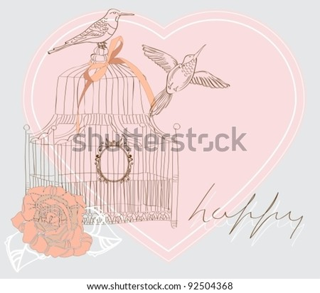 Valentine hand drawing background with birds, flowers and cage, vector