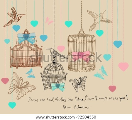 Valentine hand drawing background with cages and birds, vector - stock vector