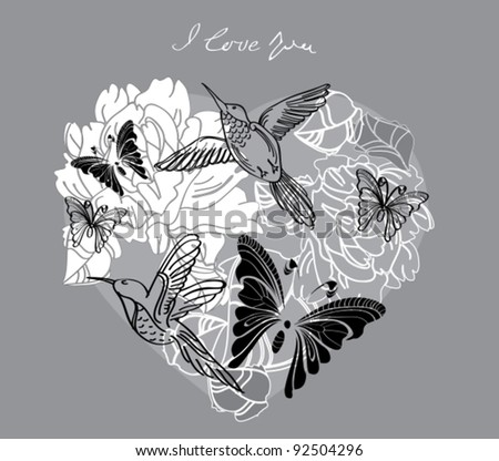 Valentine hand drawing background with floral heart, vector - stock vector