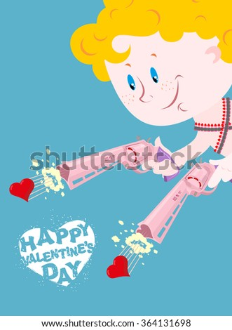 Valentine. Happy Valentines day. Cupid and Colt. Two pistols of love. Merry Angel shoots in heart. Illustration for lovers day 14 february. Cute Angel blue eyes. Cartridge belt with bullets hearts.  - stock vector