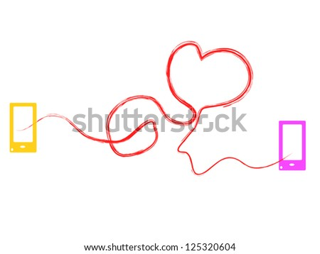 Valentine Heart Connected in Social Media Age - stock vector