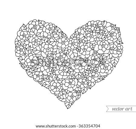 Valentine heart, floral ornament. Vector. Hand drawn artwork. Love bohemia concept for wedding invitation, card, ticket, branding, boutique logo label. Gift for young girl and women. Black and white - stock vector