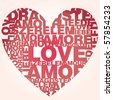 Valentine heart from love words - stock vector
