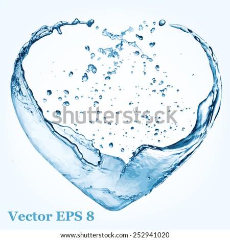Valentine heart made of blue water splash, vector illustration EPS 8. - stock vector