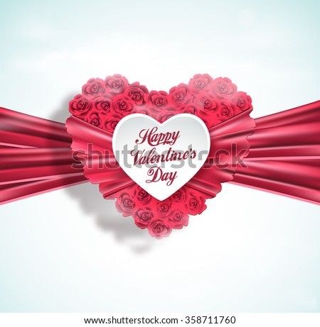 Valentine heart made of roses with pink ribbon, vector greeting card - stock vector