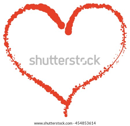 Valentine heart shape doodle. Red paint scribble vector illustration  - stock vector