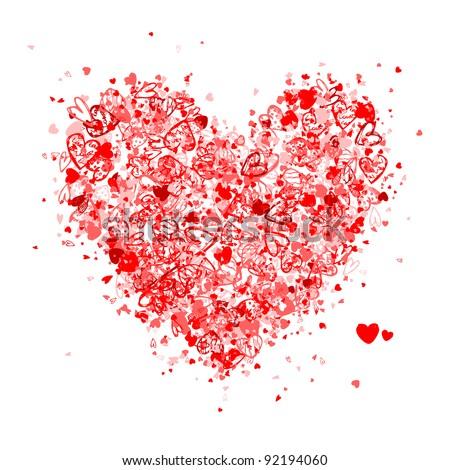 Valentine heart shape for your design - stock vector