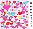 Valentine Hearts and Love Psychedelic Groovy Notebook Doodle Design Elements Set on Pink Lined Sketchbook Paper Background- Vector Illustration - stock photo