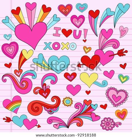 Valentine Hearts and Love Psychedelic Groovy Notebook Doodle Design Elements Set on Pink Lined Sketchbook Paper Background- Vector Illustration - stock vector