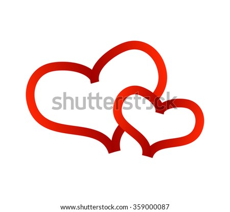 Valentine hearts on white background