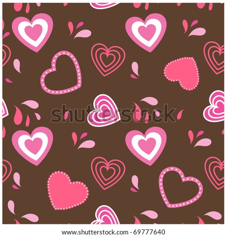 Valentine hearts seamless background - stock vector