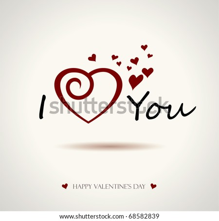 valentine I Love You Vector Lettering stylish text - stock vector