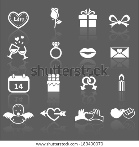 valentine icons - stock vector