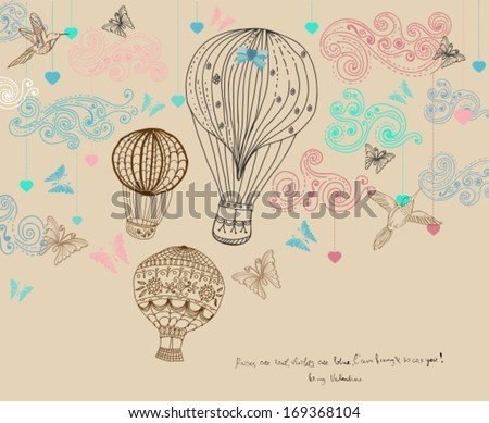 Valentine illustration, hot Air Balloon in sky, hand drawn Background for Design with hearts and birds, vector - stock vector