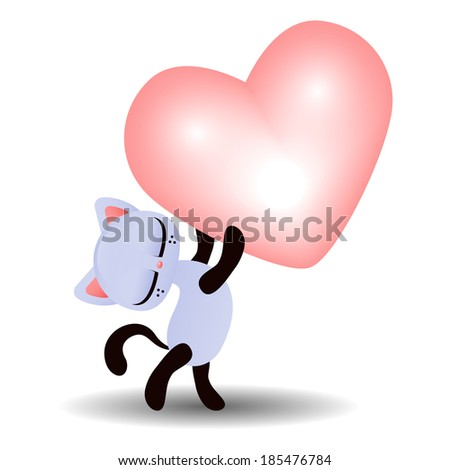 Valentine illustration of a cute kitty holding a heart