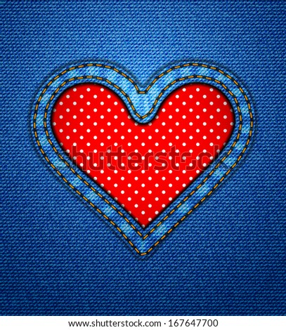 Valentine jeans heart frame with polka dots - stock vector