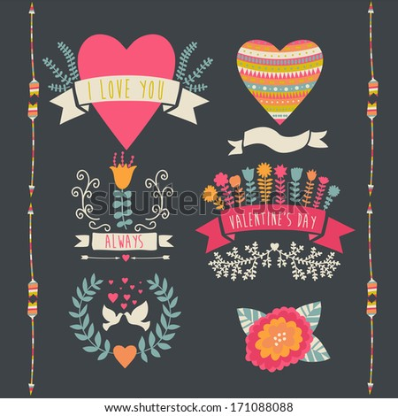 Valentine label set. Valentine`s Day emblems. Vector illustration. Vintage love collection.Laurel, wreath. flag. Tribal.