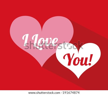 Valentine Love design over red background, vector illustration