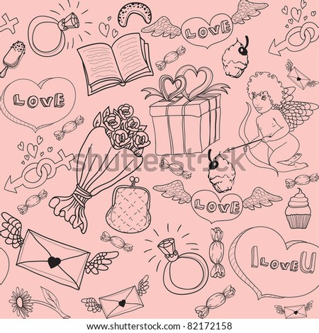 valentine love seamless background - stock vector