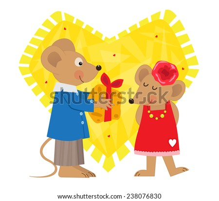 Valentine Mice - Cute mouse gives cheese to a cute female mouse. Eps10