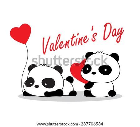 valentine panda with love - stock vector