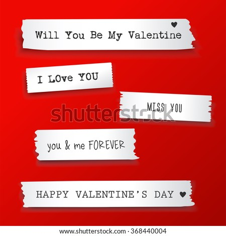 Valentine paper banner with text messages.Vector illustration - stock vector