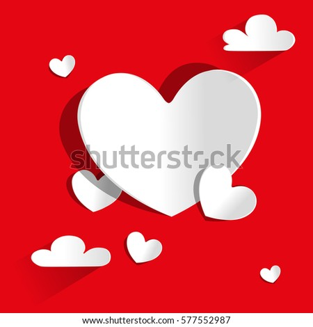 valentine paper heart on red background