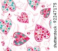 Valentine pattern with flower love hearts , vector. - stock vector