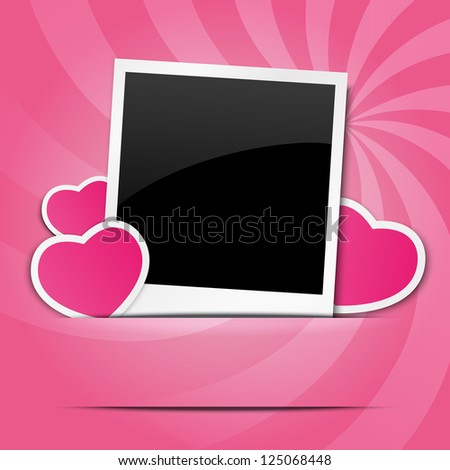 Valentine photo frame with paper hearts - stock vector