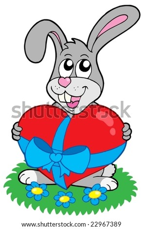 Valentine rabbit with heart - vector illustration.