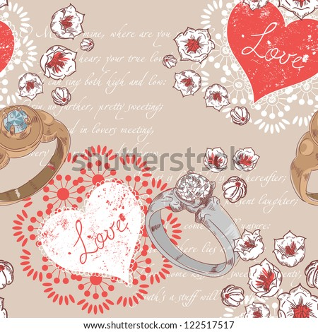 Valentine romantic retro seamless pattern with wedding rings and hearts on a verse italic text background