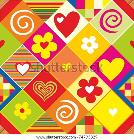 valentine's background. Seamless multicolored pattern. Vector illustrations. - stock vector