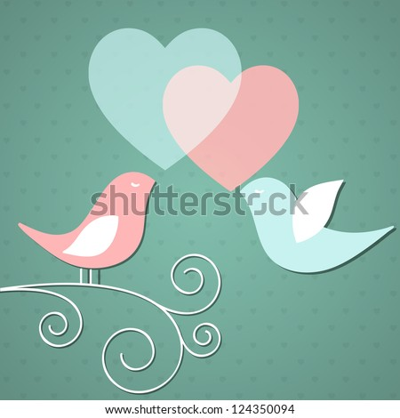 Valentine's background with birds. Vector illustration. - stock vector