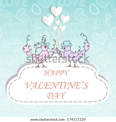 Valentine's background with two birds and hearts - stock vector