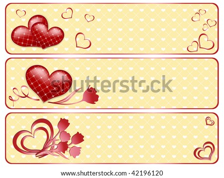 Valentine's banners with hearts. Vector illustration.