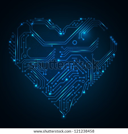 Valentine's blue background with circuit board on heart shape. Vector illustration for your artwork. Look at my portfolio to find more. - stock vector