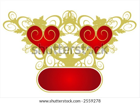 Valentine's card (red heart on a flower ornament)