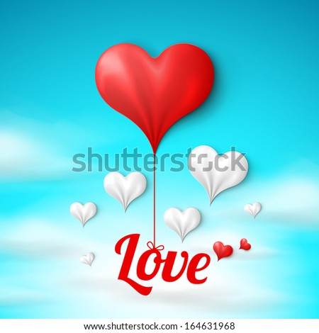Valentine's card template: white and red hearts on sky background. Vector illustration  - stock vector