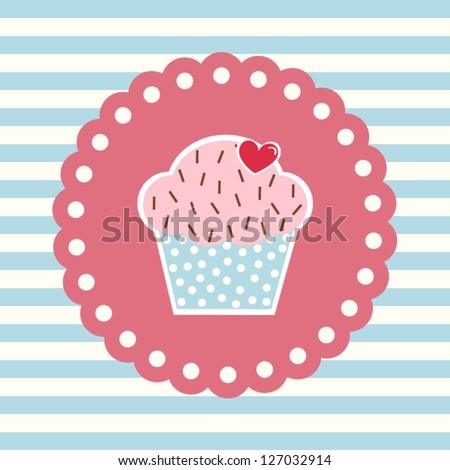 Valentine's card with cupcake and heart decoration - stock vector