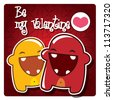 Valentine's card with cute monsters in love, vector - stock vector