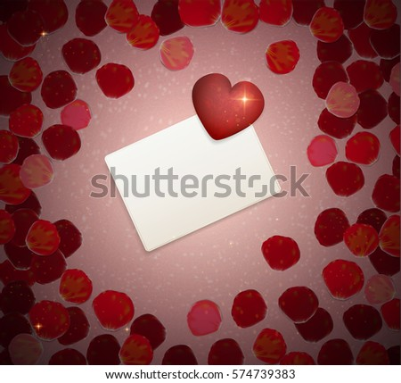Valentines Card Heart On Red Rose Stock Vector 574739383 Shutterstock